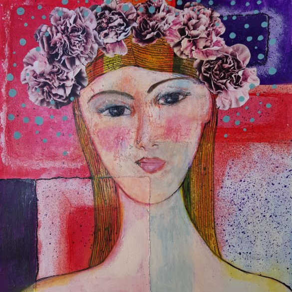 Woman Pink Peonies Mixed Media